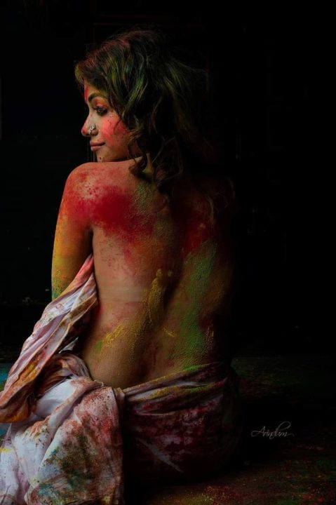 Model photography inspired by Holi festival